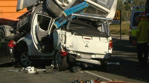 Truck crash 5km south of Rockhampton. Photo Contributed WIN TV Kent Murray