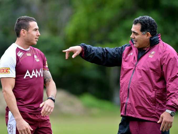 Queensland Rugby League State of Origin training at Coolum. Darius Boyd with Mal Meninga.