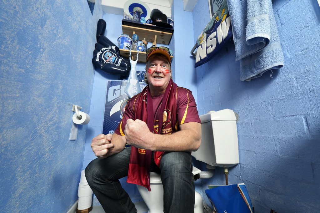 LOO SOUTH WALES: Maroons fan Peter Brown has created a cheeky tribute to NSW in his toilet.