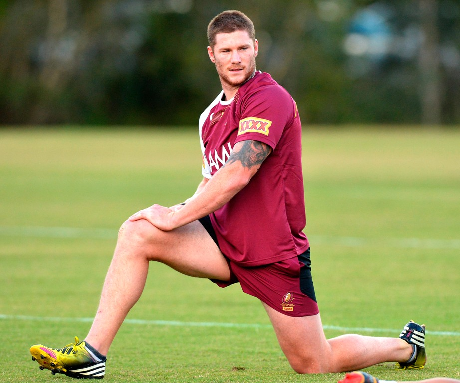 Chris McQueen warms up during a Queensland Maroons State of Origin training session at Palmer Resort Coolum on May 29, 2013 in Brisbane, Australia.