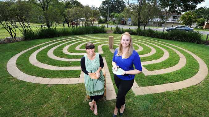 NEW ADDITION: Hilda's House manager Grace Harwood and Cr Cheryl Bromage with a labyrinth built at Vi Jordan Park in Brassall.