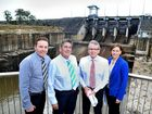 POTENTIAL: Sean Choat, Graeme Lehmann, Mark McArdle and Nanango MP Deb Frecklington check out the view from the re-opened spillway common at Wivenhoe Dam.