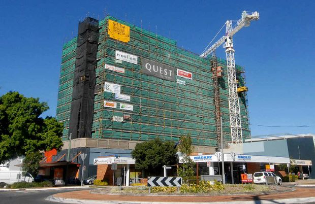 CONSTRUCTION: The new Quest on Gordon apartments block is being built on Gordon and Brisbane streets. It's expected to open in September.