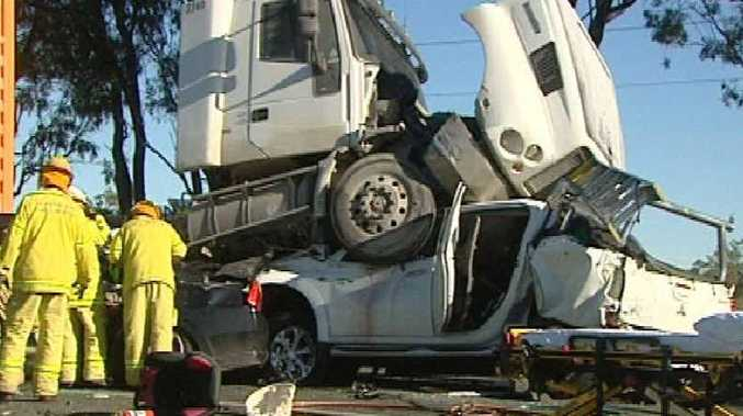 A Mackay man reclined in his seat to avoid being crushed by this truck near Midgee, south of Rockhampton.