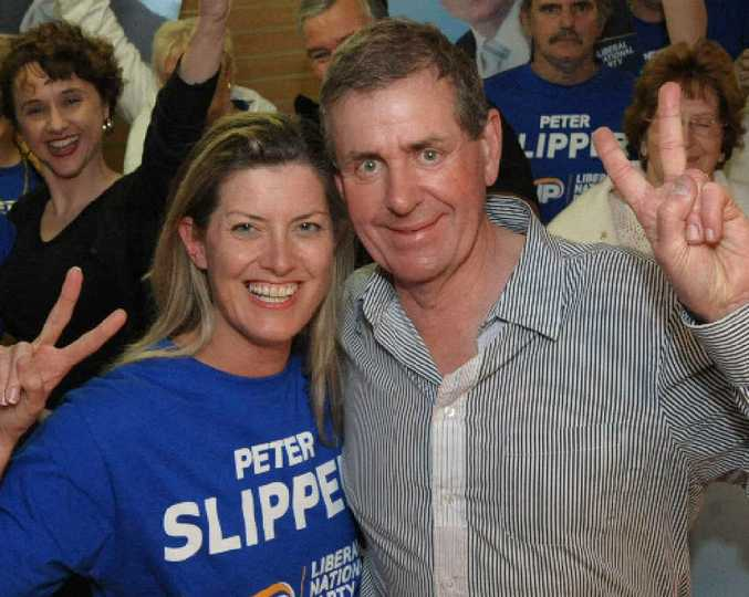 Peter Slipper and wife,Inga, celebrate his poll win in 2010