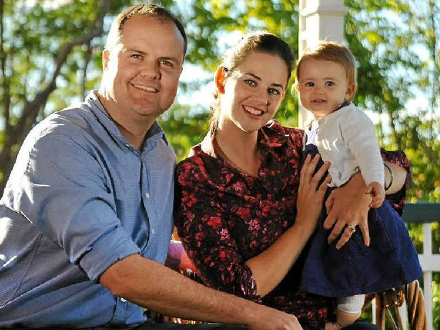 Ted O'Brien with his wife Sophia and one-year-old daughter Alexandra at their Buderim home.