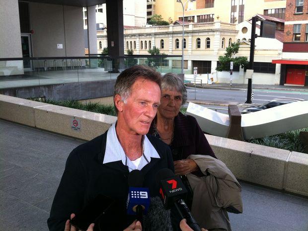 Lorraine Wilson's brother, Eric Wilson, addresses the media outside Brisbane Coroner's Court.