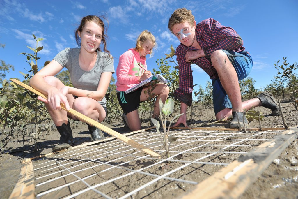 St. Mary's College Year 11 students Jessica Pitt, Stevie Jackson and Mason Atkinson get down and dirty as they study the mud flats on the Burrum River as part of their three-day biology camp.