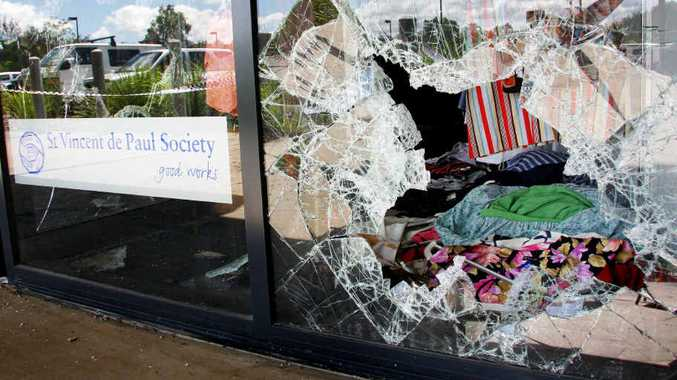 SHATTERED SHOPFRONT: St Vinnies thrift shop in Fernvale was set alight two weeks after opening.