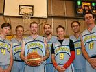 BASKETBALL CHAMPIONS: Cougars celebrate their grand final victory in the Kingaroy Basketball A-grade grand final. From left, Kynan Kelleher, Eddie Groom, Nathan Leeman, Daniel Stark, Dony George, Anthony Eden and Mitch Cush.