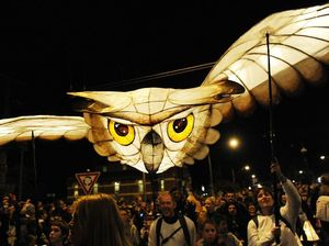 Full moon lights a fiery finale at Lantern Parade