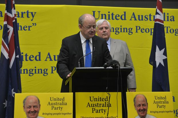 Bill Schoch with Clive Palmer during his PUP days in 2013.
