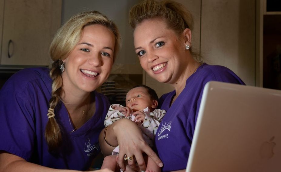 Ebony Young, baby Olivia Piper and Zoe Ryan tap into their business BornOnline.