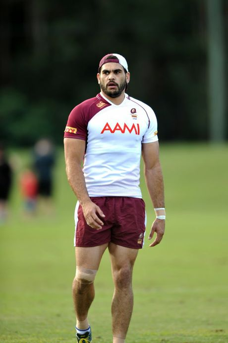 SUPERSTAR Greg Inglis (pictured at training) is back to where he feels comfortable - in the centres for this year's Origin series. Photo: Iain Curry - Sunshine Coast Daily.