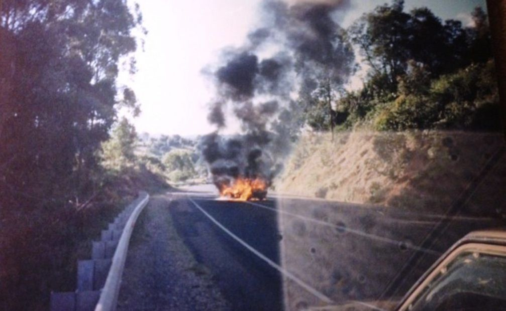 The car which burst into flames after a motorcycle became trapped underneath it, somewhere in the Tweed. Do you recognise this location?