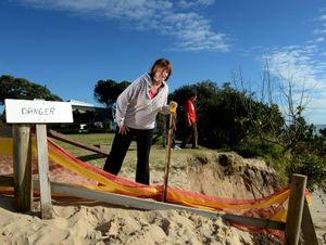 Celia Wise at fingal beach with some bad erosion.
