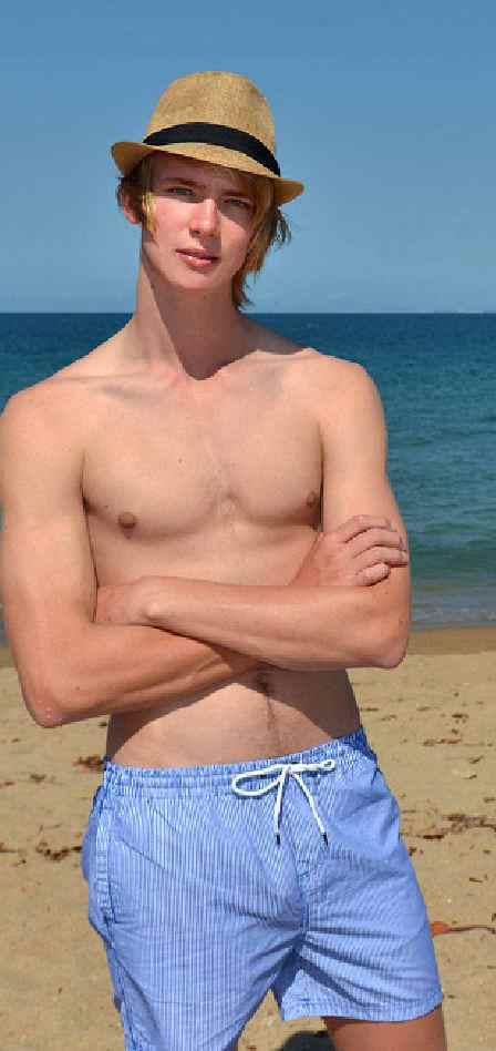 Quinton Pedro of Brooke-Lee Modelling models men's swimwear.