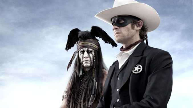 Johnny Depp and Armie Hammer as Tonto and Lone Ranger.