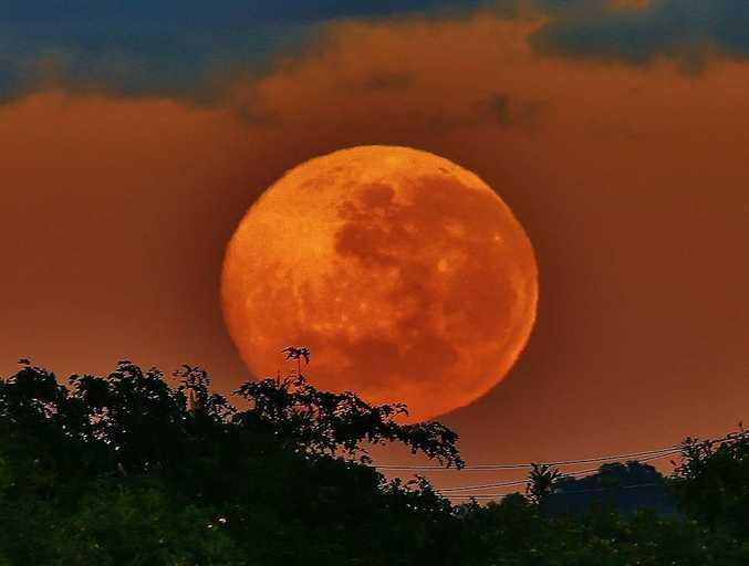 Maroochydore's Ian Ward captured this image of the supermoon over the Sunshine Coast on Sunday night.