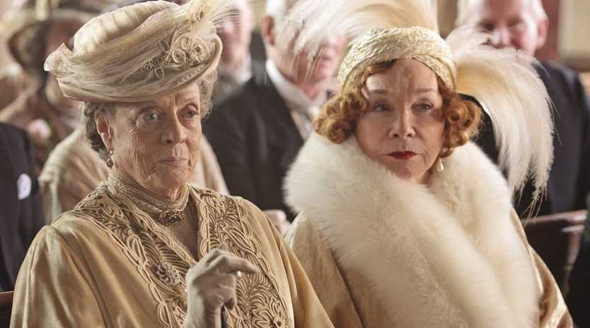 Maggie Smith, left, and Shirley MacLaine in a scene from Downton Abbey series 3.