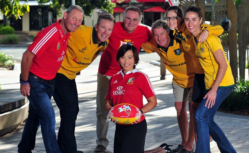 Excitement in Noosa ahead of  the stay of the British Lions Rugby team. From left are Donald McKill,Councillor Russell Green, Brian Gibson, Paul Blundell, Siam Healey, Louise Terry and Theresia Dianawati