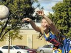 ABOVE: Alice Harland hurls a pass for her SCU side during Lismore Netball Association action.