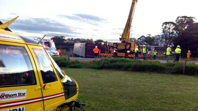 A picture of the crash supplied by Westpac Life Saver Rescue Helicopter.