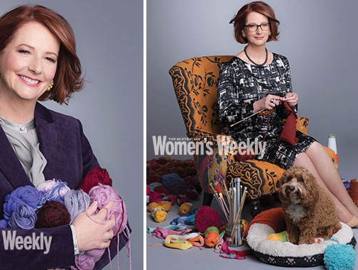 Julia Gillard has appeared in a national women's magazine posed with knitting needles and her dog.