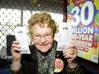 Two major Gold Lotto draws coming up. At the Newtown Newsagency Betty Rattey is expecting a rush of people buying tickets in the next few days. Photo: Bev Lacey / The Chronicle