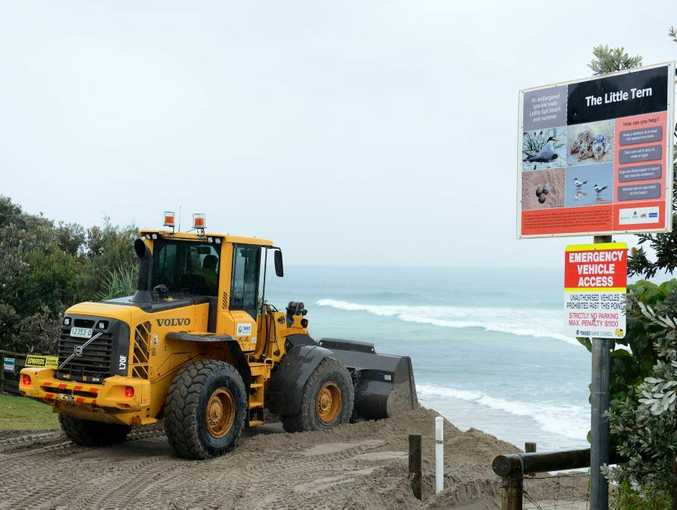 Work being done on the Fingal beach erosion Photo: John Gass / Daily News