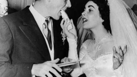 US film star Elizabeth Taylor and her first husband Nick Hilton, of the hotelier family, on their wedding day.