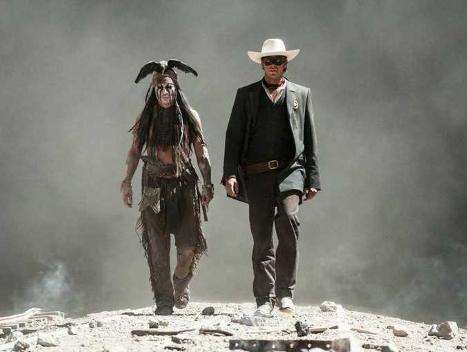 Johnny Depp, left, and Armie Hammer in a scene from the movie The Lone Ranger.