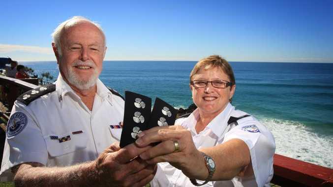 Bernie Gabriel and Glenda Ashby at Marine Rescue head quarters at Point Danger.