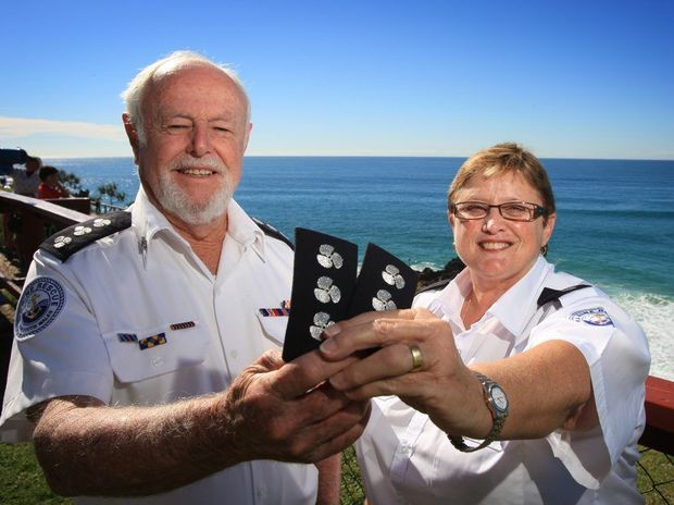 Bernie Gabriel and Glenda Ashby at Marine Rescue head quarters at Point Danger.