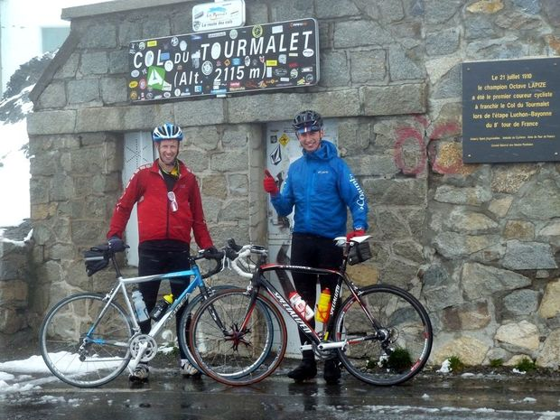 On top of the Col du Tourmalet in the French Pyrenees are (left) Iain Curry and Matthew Facey.