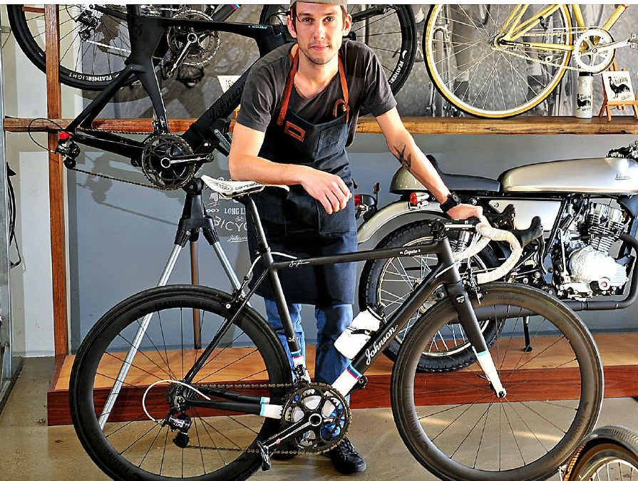 FORM AND FASHION: Former pro-continental cyclist Ben Johnson of Noosa Heads has launched his own top-of-the-range bike.