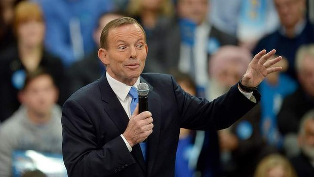 On message: Opposition leader Tony Abbott at the Victorian Liberal Party's campaign launch in Melbourne on Saturday.