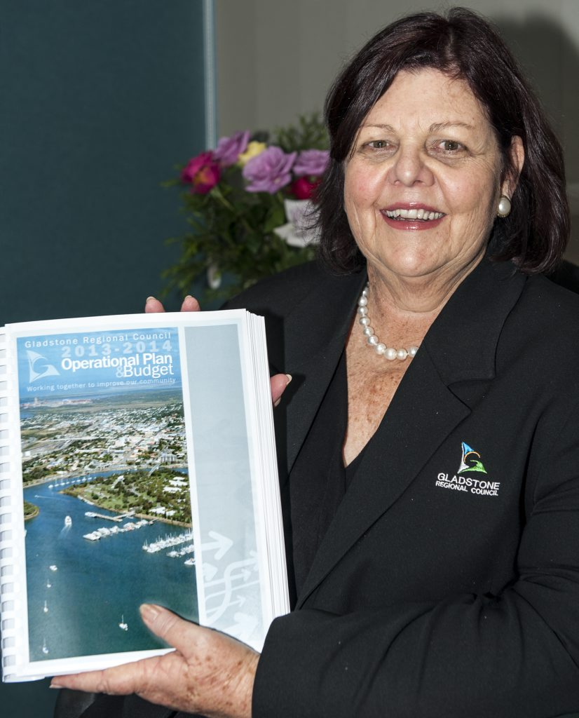 Gladstone Mayor Gail Sellers with the region's 2013/14 budget.