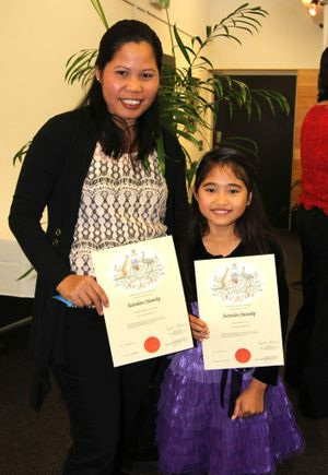 Aurora Ratcliffe and daughter Mariz Cerna are happy to be Australian citizens.