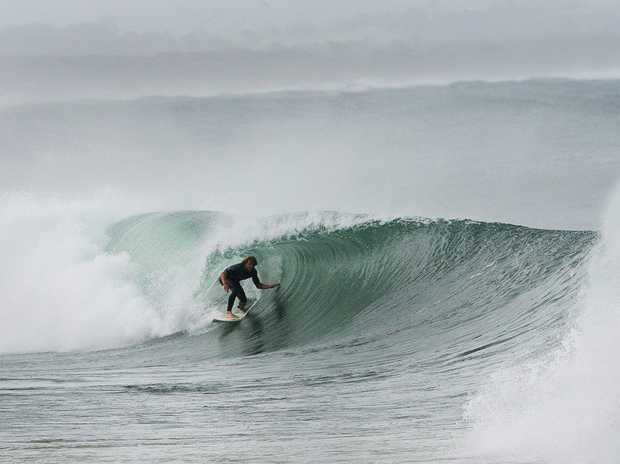 Wild weather and a solid swell hit Byron Bay with tubes a plenty from Clarke's past the Boliers.