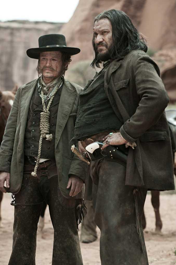 Actor Damon Herriman, left, on the set of The Lone Ranger.