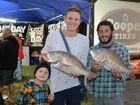 GREAT CATCH: Mason Bignell, Brooke Bignell and Mathew McIlroy on Saturday after a big day of fishing.