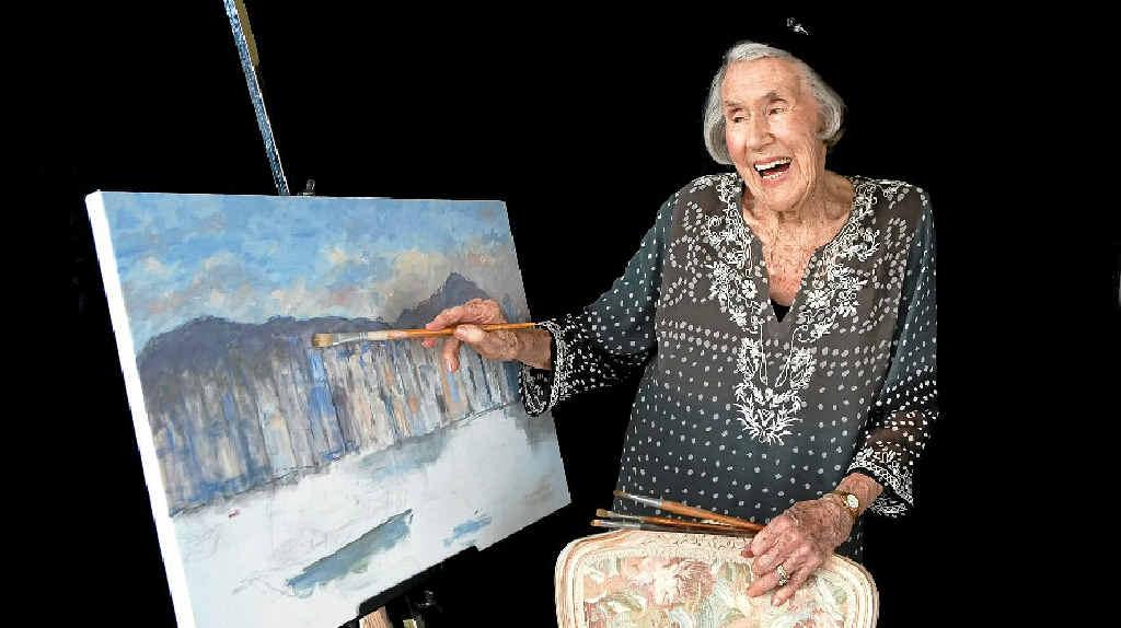 Immanuel Gardens Retirement Village resident Marie Davis, 92, poses for a residents' calendar.