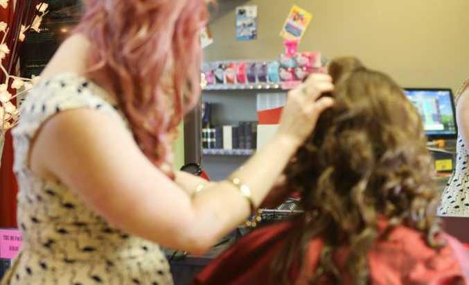 Hairdressers Katie Lauren and Montana Geiszler.