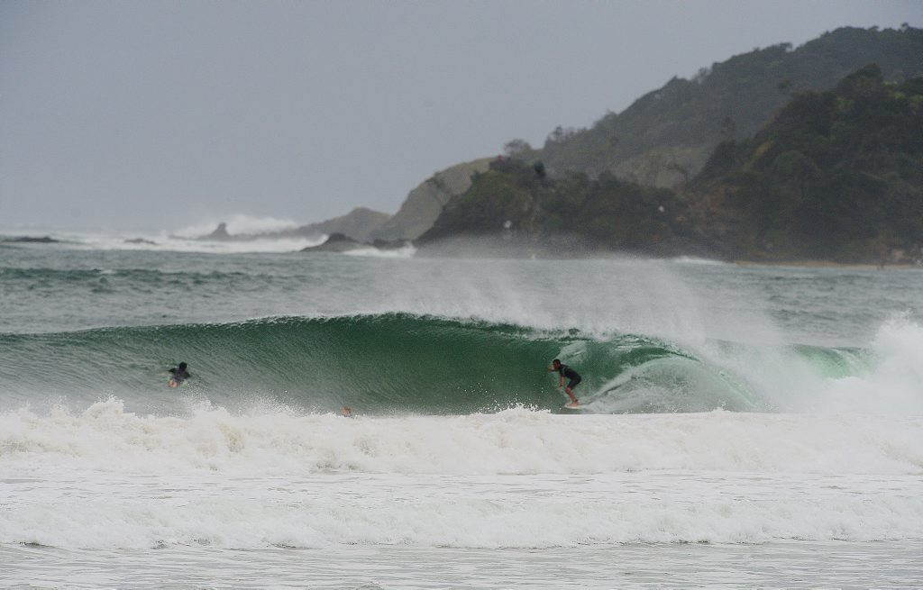 Wild weather and a solid swell hit Byron Bay with tubes-a-plenty.