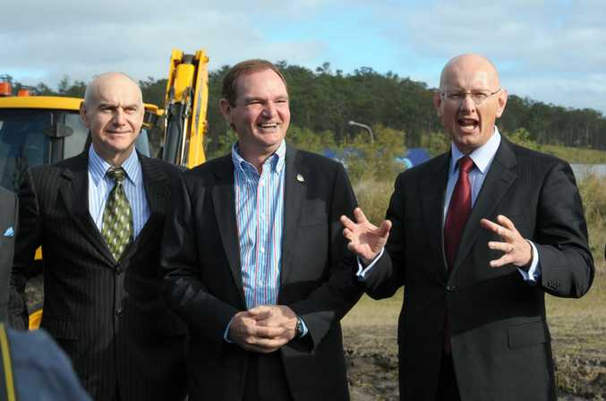 Bernie Ripoll, Ipswich mayor Paul Pisasale and Shayne Neumann at the opening of stage 2 of Robelle Domain parklands on Tuesday.