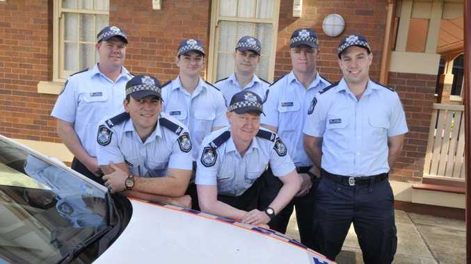 New police recruits (front) Constables Peter McDiarmid and Ramon Maurice, (back, from left) James McDouall, Ryan Pennell, Trent Parsons, Howard Willey and Carl Stevenson will hit Toowoomba's streets after graduating from the Police Academy.