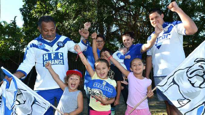 FAMILY AFFAIR: The Barba family (L-R) Ken Barba, Tahu Barba-Croft, Keeva Barba, Kobe Barba (middle), Kim Barba (at back), Jasmine Brealey-Croft, (holding baby) Jaylah Breayley, Brooklyn Barba (front) and Rohan Brealey are excited as Ben Barba returns to Mackay for the Bulldogs and Knights game this weekend.