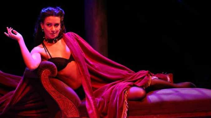 Former Toowoomba girl Libby Munro in character as Vanda in the smash hit, Venus in Fur, playing in Brisbane until July 27.