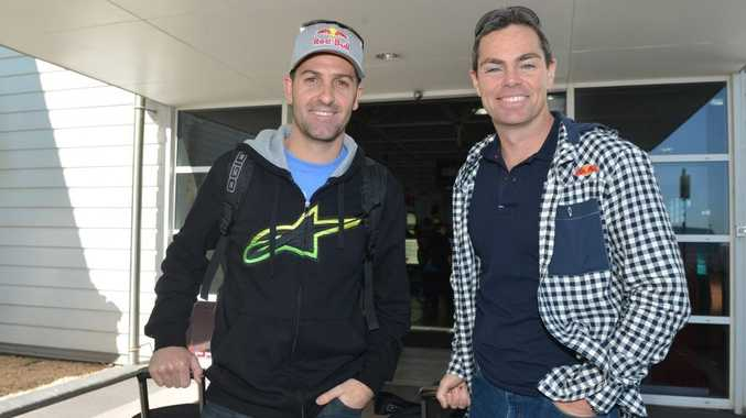 V8 drivers Jamie Whincup and Craig Lowndes arrive in Mackay to visit sonsors in Nebo enroute to the Townsville 400 this weekend. Photo Lee Constable / Daily Mercury